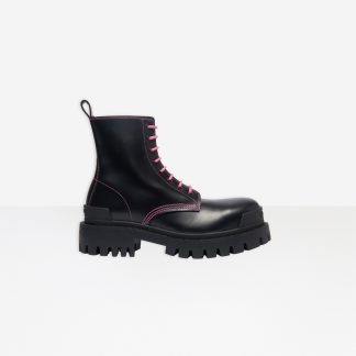 Replica Balenciaga STRIKE 20MM LACE-UP BOOT IN BLACK MATTE CALFSKIN #40154